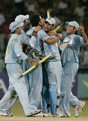 Indian players celebrate after their first ODI series win on Sri Lankan soil, in Colombo on Wednesday.