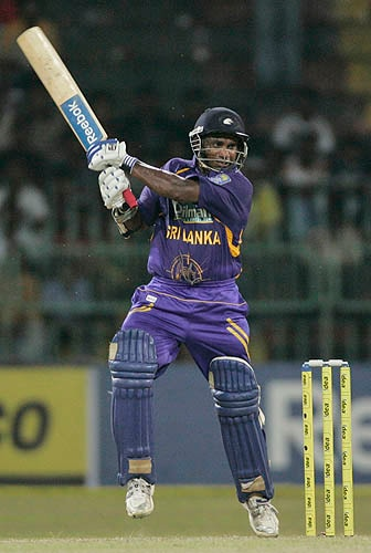 Sanath Jayasuriya cuts one away during his innings of 60 against India.