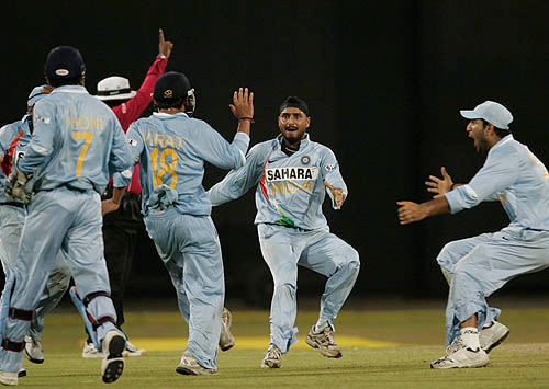 India celebrate the run-out of Sri Lanka captain Mahela Jayawardene in Colombo.