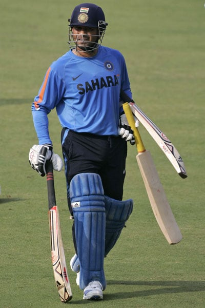 Sachin Tendulkar walks during a practice session prior to the third ODI between India and Sri Lanka in Cuttack. (AP Photo)