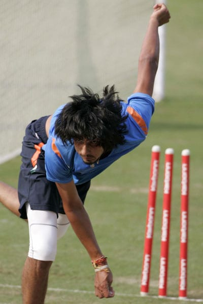Ishant Sharma bowls during a practice session prior to the third ODI between India and Sri Lanka in Cuttack. (AP Photo)