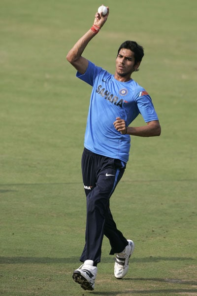 Sudeep Tyagi bowls during a practice session prior to the third ODI between India and Sri Lanka in Cuttack. (AP Photo)