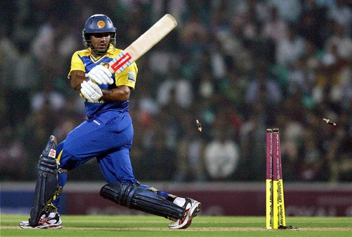 Chamara Kapugedera clean bowled by Ashish Nehra during the T20 match in Nagpur. (PTI Photo)