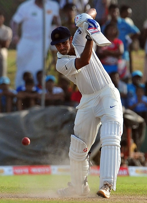 India cricketer Rahul Dravid plays a stroke during the fourth day of the first Test match between Sri Lanka and India at The Galle International Cricket Stadium in Galle on July 21, 2010. (AFP Photo)