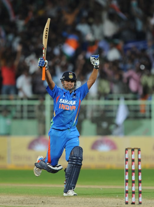 Indian cricketer Suresh Raina reacts after winning over Australia during the second ODI between India and Australia at The Y.S. Rajasekhara Reddy ACA-VDCA Cricket Stadium in Visakhapatnam. (AFP Photo)