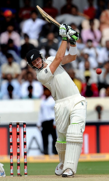 New Zealand Martin Guptill plays a shot during the first day of the second Test match between India and New Zealand at The Rajiv Gandhi International Cricket Stadium in Hyderabad. (AFP Photo)