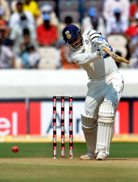 Indian cricketer Virendra Sehwag plays a shot during the second day of the second Test match between India and New Zealand at The Rajiv Gandhi International Cricket Stadium in Hyderabad. (AFP Photo)
