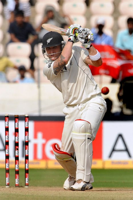 New Zealand's cricketer Brendon McCullum plays a shot during the fourth day of the second Test match at Rajiv Gandhi International cricket stadium in Hyderabad on November 15, 2010. AFP PHOTO/Prakash SINGH