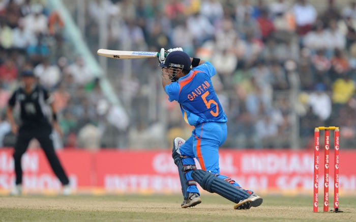 India's Gautam Gambhir plays a shot during the first one-day International cricket match against New Zealand at Nehru Stadium in Guwahati. (AFP Photo)