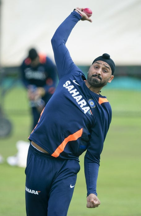 Indian bowler Harbhajan Singh during their first training session at Super Sport Park, Centurion in Pretoria. (AP Photo)