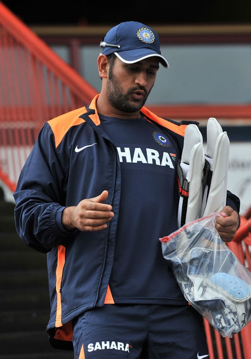 Indian cricketer Mahendra Singh Dhoni attends a training at the Super Sports Park in Centurion. (AFP Photo)