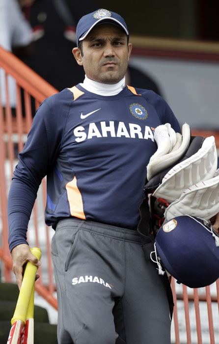 India's Virender Sehwag arrives for training at the SuperSport Park in Centurion. (AP Photo)