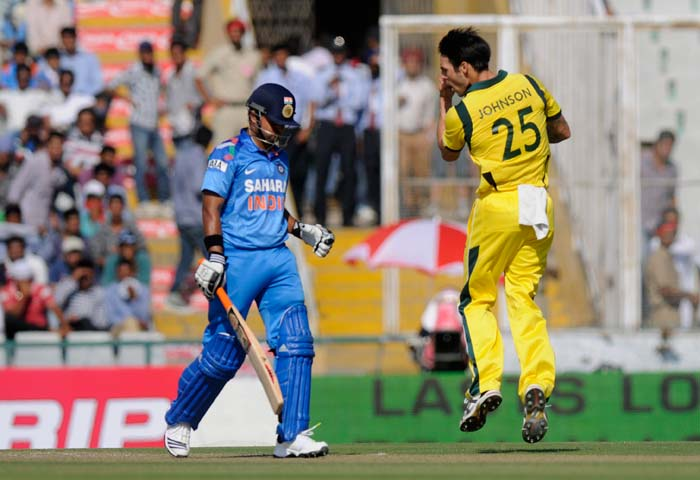 Suresh Raina missed a golden opportunity to get a big score in Mohali as he failed to convert a good start yet again. Mitchell Johnson was the best Australian bowler as he finished with 4/46.