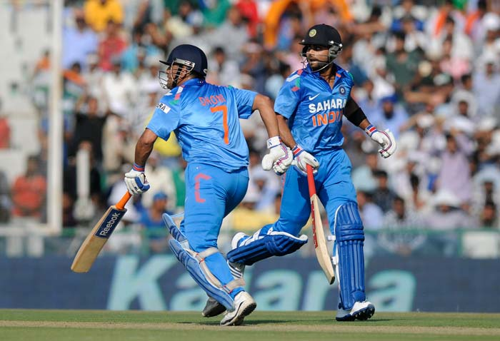 Virat Kohli and Mahendra Singh Dhoni then steadied India's innings with a stand of 72 runs for the fifth wicket.