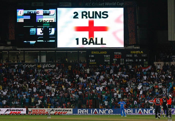 England required two runs off the last ball and tension could be seen on the face of both Munaf Patel and the English camp who were desperately wishing for Graeme Swann to get the two runs. (Getty Images)