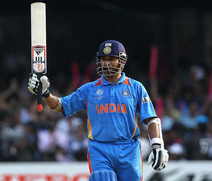 Sachin completed his 47th ODI hundred, his fifth in World Cups. Soon after his hundred, Sachin started to up the ante, but it couldn't last long as he was caught off a leading edge. (AFP Photo)