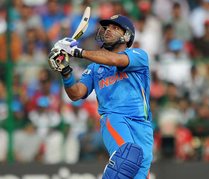 Yuvraj announced his return to form as he scored a well made fifty but was dismissed soon after. (AFP Photo)
