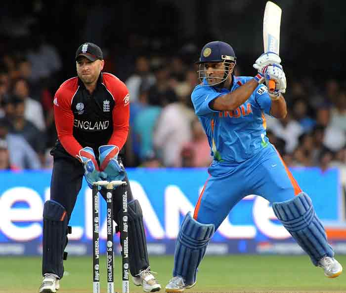 Dhoni followed Yuvraj after being caught at the square leg position, which was similar to the way Yuvraj perished. (AFP Photo)
