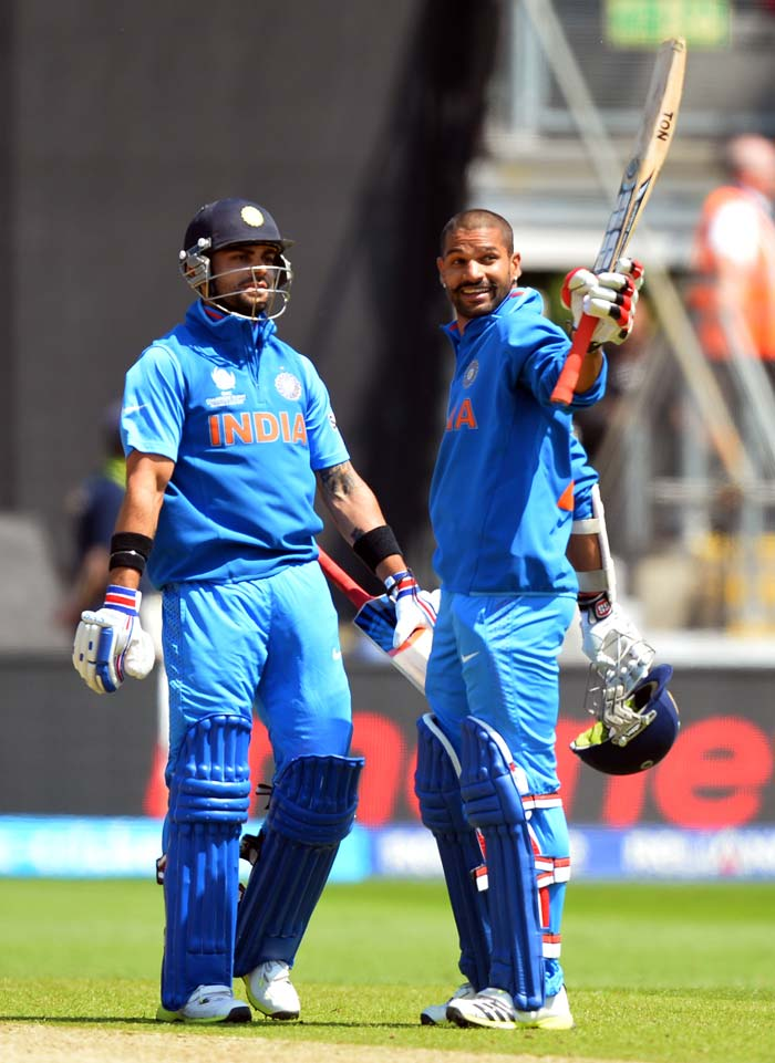 Dhawan reached his maiden ODI ton off 80 balls as he went on to smash 114 from 94.