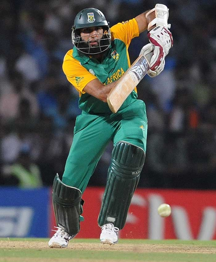 South Africa's Hashim Amla plays a shot on his way to a half-century against India. (AFP PHOTO)