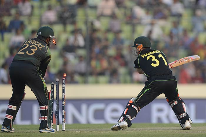 Australia suffered a poor start in a steep run-chase as Zulfiqar Babar dismissed David Warner in the first over.