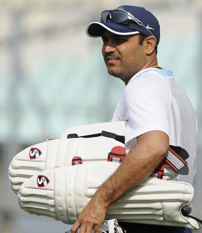 Virender Sehwag will be hoping to continue his emphatic return to the squad which saw him score two half centuries to rattle the West Indies bowling. (AFP Photo)