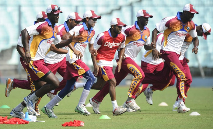 The West Indies were taking no half measures during their practice session. (AFP Photo)