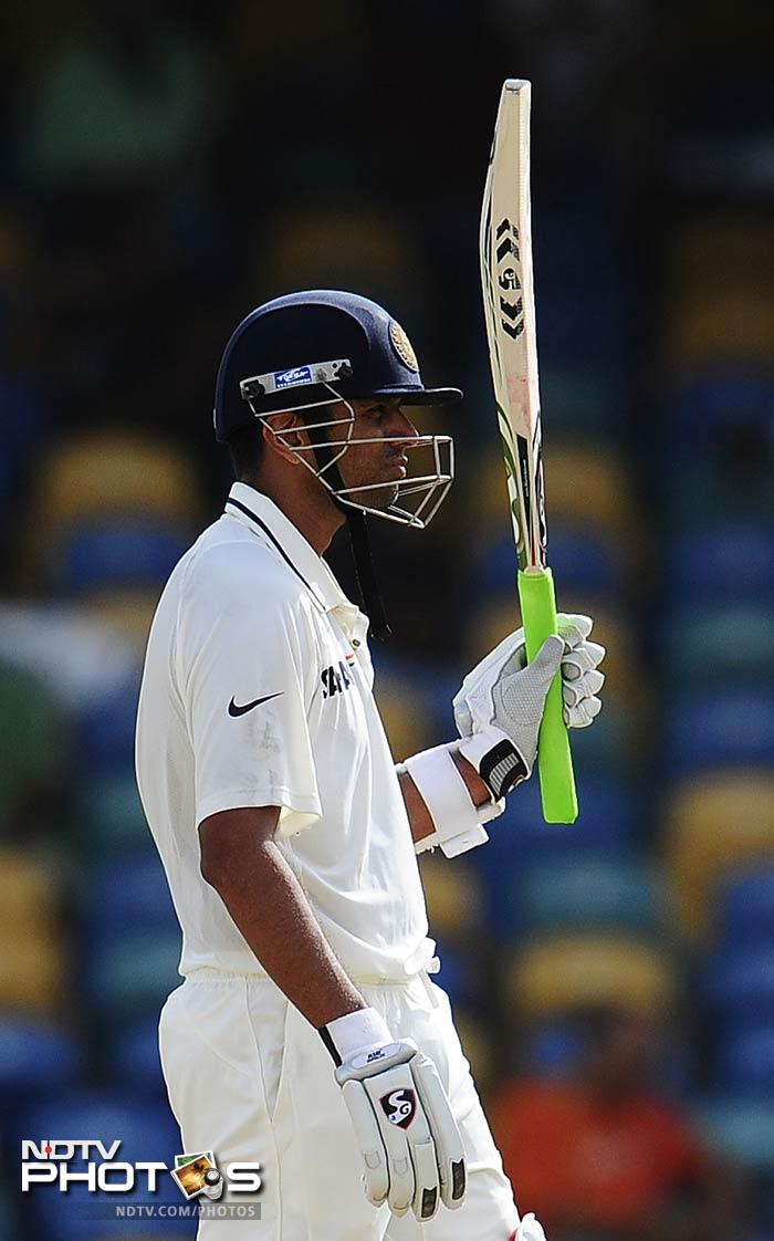 Rahul Dravid celebrates after scoring his half-century. (AFP Photo)