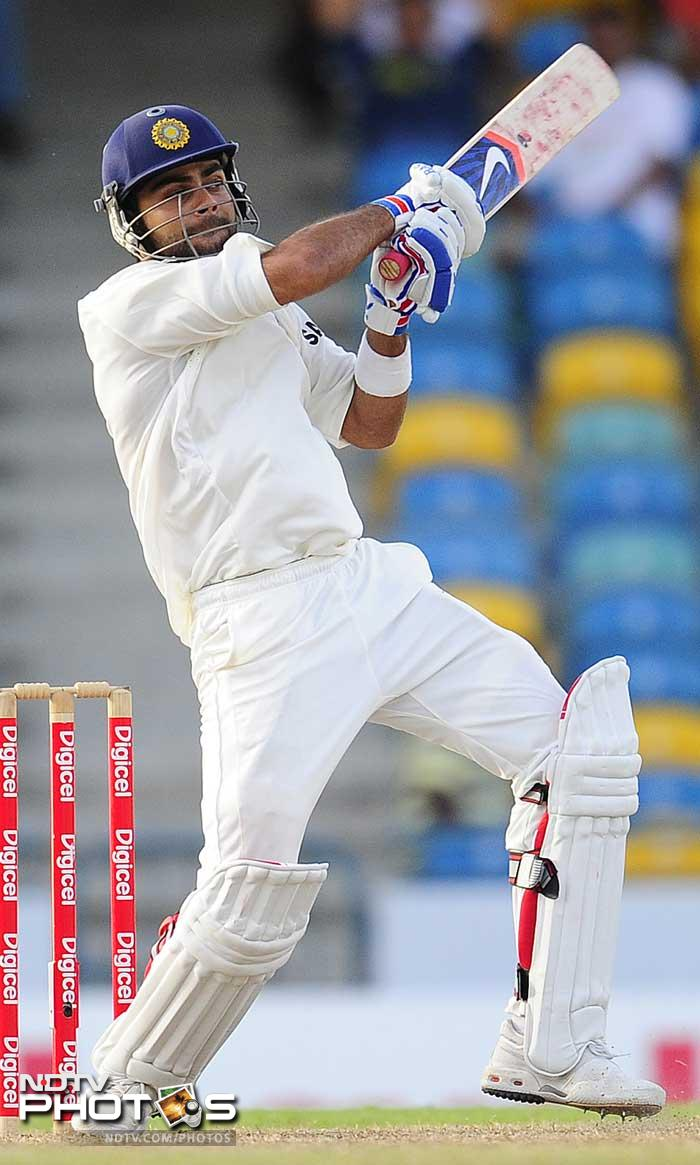 Virat Kohli plays a shot on the fourth day of the second Test match. (AFP Photo)