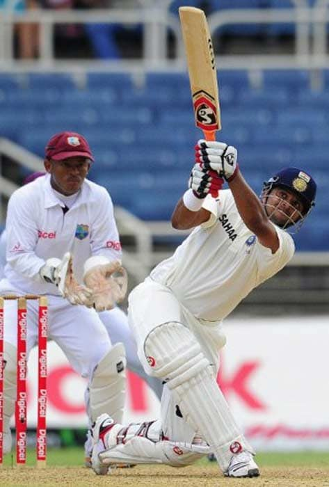 Raina plays a shot during his knock of 82 in the first innings that helped India post 246 on the first day of the Test match.