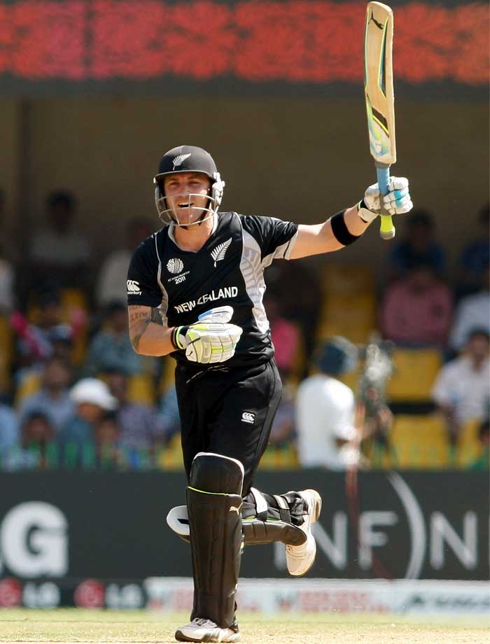 His performance during this tournament is not much to deliberate on. His sheer presence in the New Zealand dressing room is. Brendon McCullum suffered a sore knee during his team's match against Pakistan and had a heavily bandaged leg to show for during training the next day. STATUS: IN (Getty Images)
