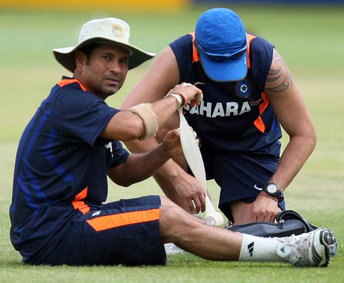 Sachin Tendulkar has a billion hopes pinned on him. It was also a scare for a billion when he underwent a scan on his left knee after the opening match. It was later announced that it was a minor niggle as was proved in the subsequent match in which the master-blaster scored 120 against England. STATUS: IN (Getty Images)