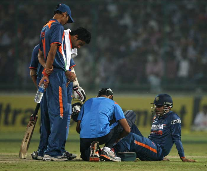 Virender Sehwag slammed a mammoth 175 in the opening match against Bangladesh. But his future in the tournament became doubtful when a ball crashed into his ribs during training. He however, has returned to play for India in every match after the opener. STATUS: IN (Getty Images)