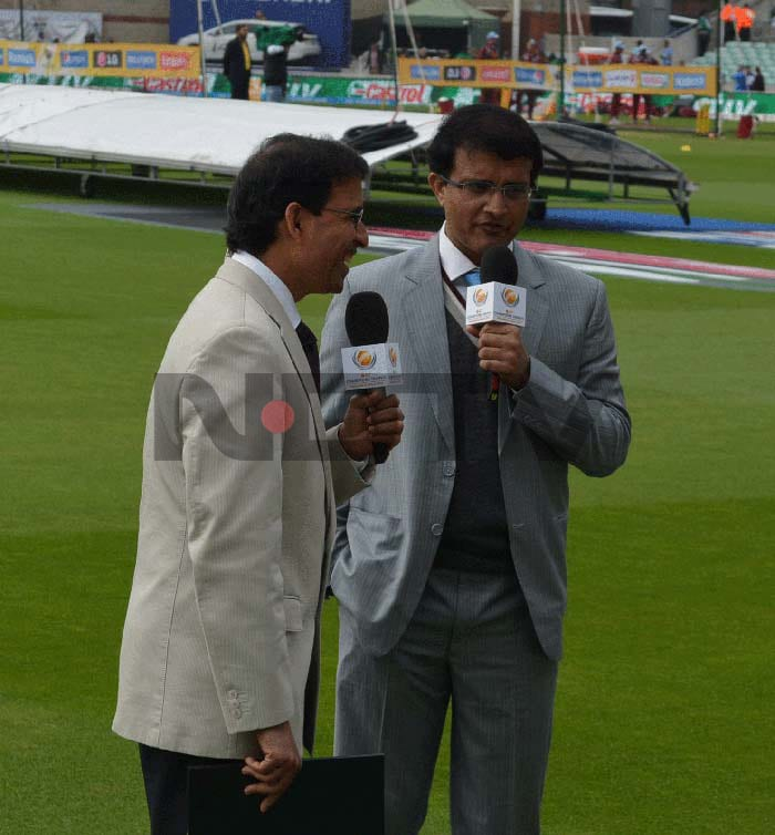 Ganguly - not one to mince his words - shows his lighter side with sharp quips and subtle hints. Seen here sharing a laugh with Harsha Bhogle.