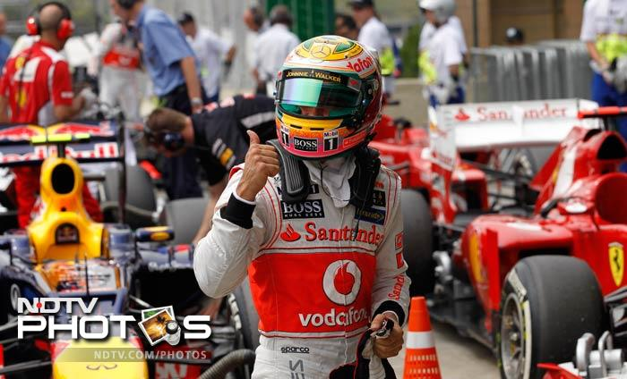 """""""I am grateful to be able to put the car on the front row and to have a one-two for McLaren in my last qualifying is just great. The team did a fantastic job,"""" said Hamilton."""