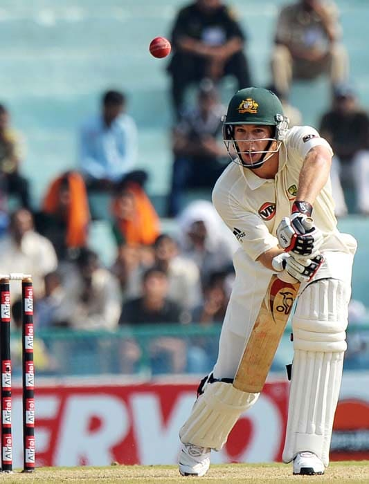 Australian cricket player Tim Paine plays a shot during the second day of the first Test between India and Australia in Mohali. (AFP Photo)