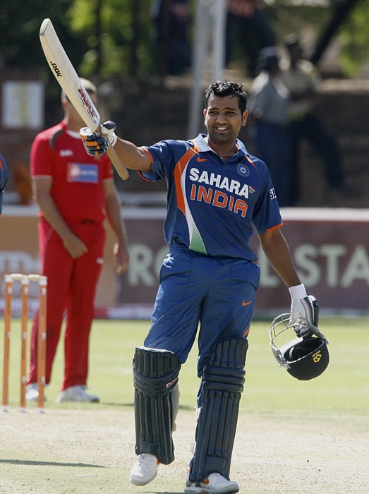 Rohit Sharma celebrates after reaching a century. (AFP Photo)