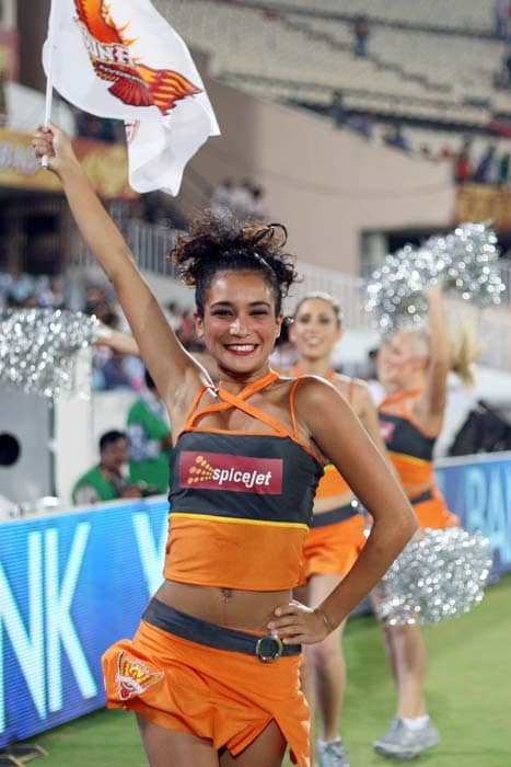 Sunrisers Hyderabad is the new team on the bloc and their cheergirls have spared no opportunity to celebrate the team's success early on in the tournament. (Images courtesy: PTI and BCCI)