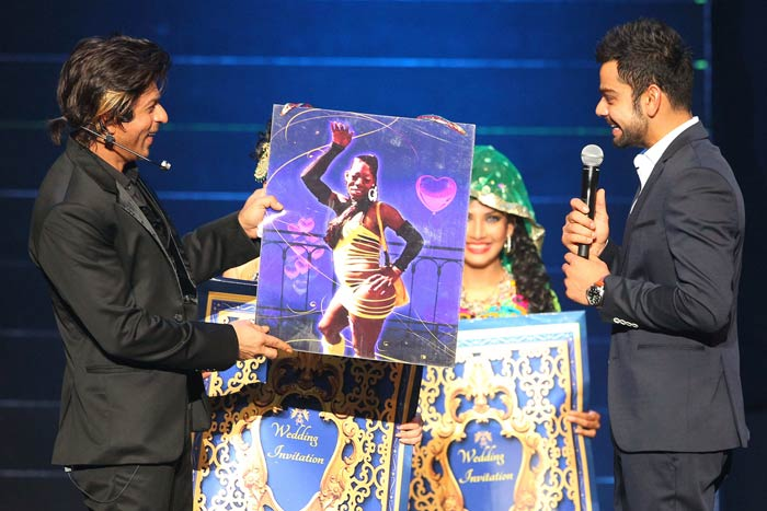 Speaking of fun, the best moment of the evening though was perhaps when SRK asked Royal Challengers Bangalore's Virat Kohli to pick his maiden from a list of placards. (Image courtesy BCCI)