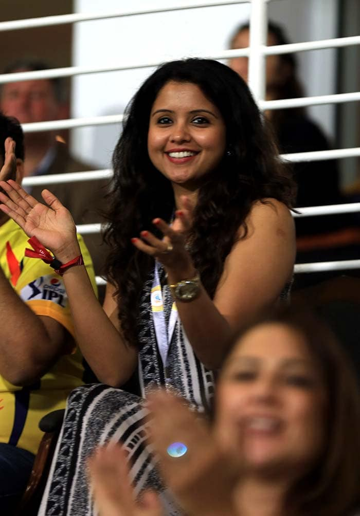 Preethi is seen here cheering for her husband during CSK's match against Delhi. <br><br>Childhood friends, Ashwin and Preethi tied the knot on November 13, 2011. (BCCI image)
