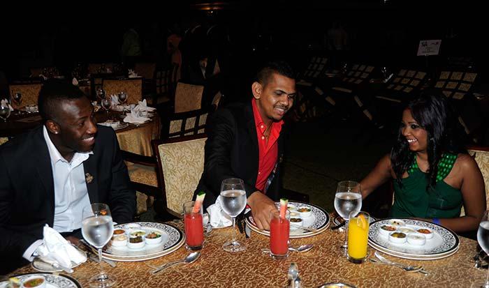 Kolkata teammate Sunil Narine (center) is seen with his wife Nandita Kumar. (BCCI image)