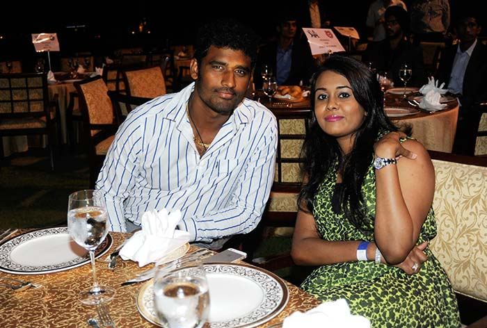Kings XI Punjab's Sri Lankan import - Thisara Perera - poses for a photograph with his wife. (BCCI image)