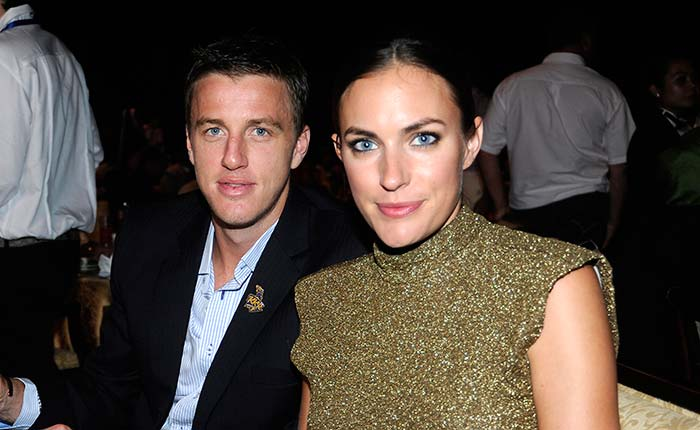 And here is yet another Knight Rider! <br><br>South Africa's Morne Morkel with his partner during the private dinner party. (BCCI image)