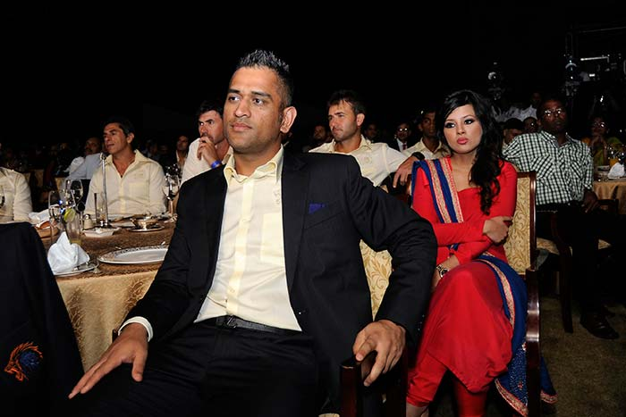 And here is the most-followed cricketer with his wife. <br><br>India and CSK skipper MS Dhoni with wife Sakshi. (BCCI image)