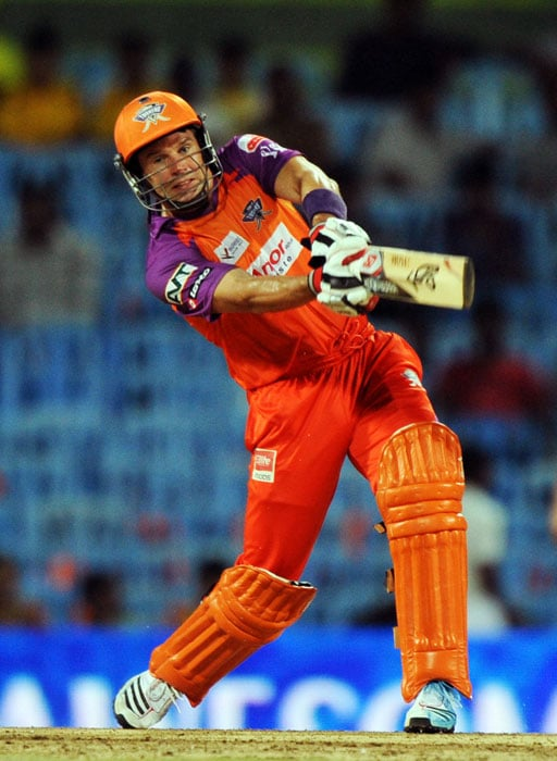 Brad Hodge plays a shot during the IPL Twenty20 match between Chennai Super Kings and Kochi Tuskers Kerala at the M.A.Chidambaram Stadium in Chennai. (AFP Photo)