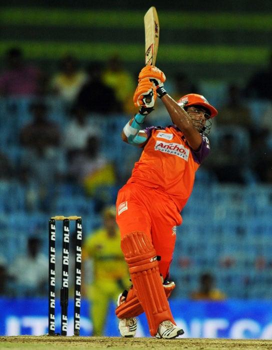 Ravindra Jadeja plays a shot during the IPL Twenty20 match between Chennai Super Kings and Kochi Tuskers Kerala at the M.A. Chidambaram Stadium in Chennai. (AFP Photo)