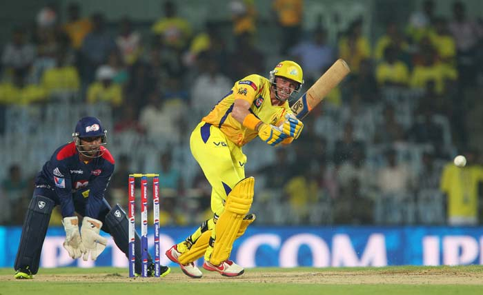 Michael Hussey gave Vijay good support with a solid knock of 26. (BCCI Image)