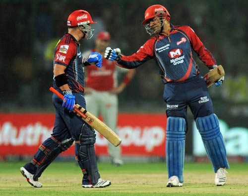 The 26th IPL match between Delhi Daredevils and Kings XI Punjab had the highest total on the board, courtesy Virender Sehwag and David Warner. The Delhi openers' quickfire knocks to take the total to 231 runs at the Feroz Shah Kotla. Both of them scored 77 runs each but Sehwag's knock came off 35 balls, his strike rate being 220.00. He slammed eight fours and four sixes.<br><br>Warner, on the other hand, scored a boundary less but he took 48 balls for his 77 runs.<br><br>Kings XI Punjab fought back hard with the help of Shaun Marsh's 95 runs but still fell short by 29 runs.
