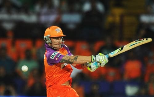 Sachin Tendulkar scored his first ever century in the T20 format against the Kochi Tuskers Kerala to take the score to 182 runs. It seemed a mammoth total for a struggling Kochi side but Brendon McCullum had other ideas. He opened the innings with skipper Mahela Jayawardene. He flayed the bowlers for his 60-ball 87 runs to script one of the biggest upsets of the IPL 4. Jayawardene too scored a half-century (56) to steer his side to a crushing 8-wicket win against the mighty Mumbai Indians and spoil Tendulkar's century celebrations.