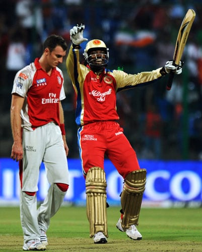 Royal Challengers Bangalore were languishing in the bottom half of the IPL points table but that was before one man made a gala entry into the team and the tournament. Chris Gayle looked determined to prove himself after going unsold in the IPL 4 auction and making a back door entry into the Bangalore team only after Bangalore needed someone to replace an injured Dirk Nannes. After destroying his former team Kolkata Knight Riders, Gayle followed it up with an even more devastating knock of 107 off 49 balls against Kings XI Punjab. The West Indian's 2nd century of IPL 4 was laced with 10 fours and 9 sixes.